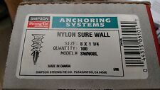 """Nylon Sure Wall Lon Anchors 8 x 1-1/4"""" SWN08L Simpson Strong-Tie Box of 100"""