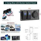 Waterproof 2 Gang Blue LED Car Marine Boat Rocker Switch Panel Circuit Breaker