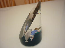 Vintage Large Paper Weight - Solid Acrylic - Boy Tennis Player Figural Scenic