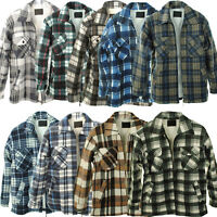 Mens Padded Sherpa Fur Lined Lumber Jack Collared Flannel Quilted Gents Shirt