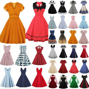 Plus Size Womens Rockabilly Retro Swing Dress Housewife Party Evening Dresses