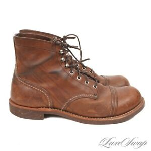 #1 MENSWEAR Red Wing Shoes Made in USA 8111 Iron Ranger Brown Leather Boots 10