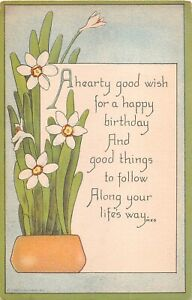 Lovely Jonquils on 1916 Art Deco Birthday Motto PC - No. 1107 Sandford Card Co.