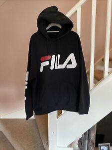 Fila Sports Hooded Jumper Hoodie Size Large Designer Casual Retro Vintage