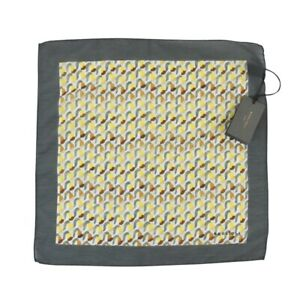 $155 NWT BOGLIOLI Yellow Geometric Cotton Silk Large Handkerchief Pocket Square