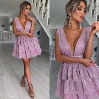 Women Glitter Deep V Party Frill Mini Dress Ladies Evening Prom Ruffle Ball Gown
