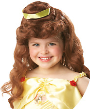 Girls Disney Official Belle Brown Wavy Ribbon Fancy Dress Costume Outfit Wig