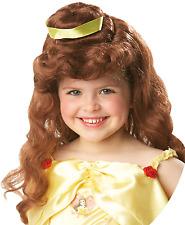 filles Disney Officiel BELLE Marron ondulé ruban Costume Déguisement perruque