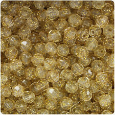 750 Gold Sparkle 6mm Faceted Round Plastic Craft Beads Made in the USA