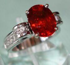 Heavy 18KT White Gold SPESSERTITE GARNET & DIAMOND Ring, Gem Quality Garnet FINE