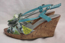 "Lane Bryant Size 9 W 4"" Wedge Sandal Blue Floral Strappy Synthetic Bow Front"