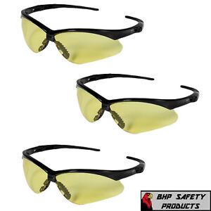 3 PAIR KLEENGUARD NEMESIS AMBER LENS SAFETY GLASSES NIGHT DRIVING SHOOTING Z87+