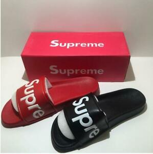 NEW SUPREME SLIDES SANDALS SLIPPPERS FLIP FLOPS RED OR BLACK BOX LOGO