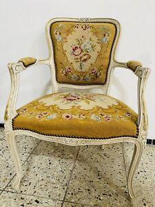 Antik Armlehnstuhl Sessel Barock Chippendale Gobelin Shabby  Gelb Vintage Creme