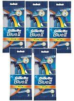 GILLETTE RAZOR BLUE 2 Plus CHROMIUM Disposable Twin Blade Mens Shaver 5 Pack =15