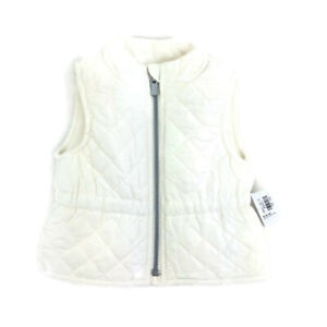 NEW Old Navy Infant Girls Pink & Ivory Quilted Stitched Vest Fleece Lined
