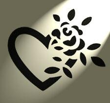 ROSE cuore Stencil Shabby Chic Rustico Stile Vintage arredo parete a4 297x210mm