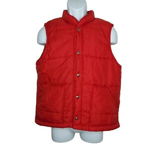 Swingster Vintage 80s Puffer Vest Large Red Insulated Pockets Snaps USA Made