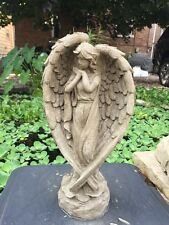 DETAILED ANGEL GRAY CEMENT ANTIQUED WHITE STATUE CONCRETE Lawn Garden Ornament