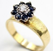 Beautiful 18ct Yellow Gold Sapphire and Diamond Cluster Ring Size M1/2