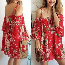 Sexy Women Summer Chiffon Floral Casual Party Evening Cocktail Short Mini Dress