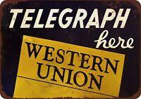 "Telegraph Here Western Union Rustic Retro Metal Sign 8"" x 12"""