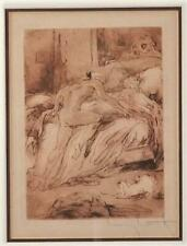 Antique~Vintage Pencil Signed Etching~LOUIS ICART~French Bedroom Scene~VGC
