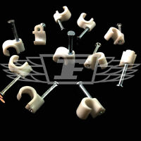 WHITE 6-7mm COAXIAL CABLE CLIPS WITH FIXING NAILS AERIAL COAX SATELLITE TV PHONE