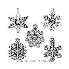 5 Breloques _ MIX FLOCONS DE NEIGE 20 à 24,5mm _ Perles charms créat bijoux B122