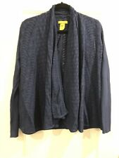 New Catherine Malandrino Womens Sweater Large Navy Blue Cardigan Open Front Top