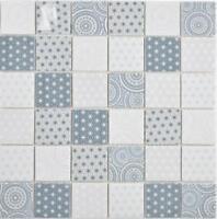 GLAS Mosaik ECO blau weiß Wand Küche Dusche Rückwand Fliesenspiegel   WB16-0104