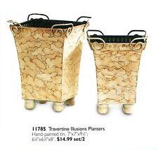 Home Interiors Planter Travertine Illusions Set/2 Ltd New Homco Hig 11785