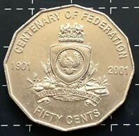 2001 AUSTRALIAN 50 CENT COIN CENTENARY OF FEDERATION - SOUTH AUSTRALIA - S.A