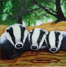 "Badger Animal Ceramic Picture Tile Farm Wall Plaque Kitchen Wildlife 8x8"" 05268"