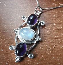 Amethyst Moonstone Triple Gem 925 Sterling Silver Pendant Corona Sun Jewelry