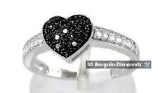 Black Diamond Heart 10K White Gold Ring .34-ct love promise engagement wedding