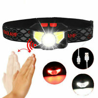 LED Headlamp Sensor 6 Modes Hands-Free Rechargeable Headlight  With Red Lights