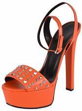 NEW Gucci Women's Orange Leather Studded Leila Platform Sandals Shoes 38.5 8.5