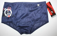TYR Mens Blue Red 34 Poly Mesh Swim Suit Drag Trainer Briefs PEACE & HARMONY New
