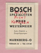 Nuremberg, advertising 1949, R. Bosch Automobile Car Electrics einpritz Pumps