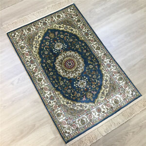 Yilong 2'x3' Blue Floor Hand Knotted Carpets Traditional Handmade Silk Rug 124A