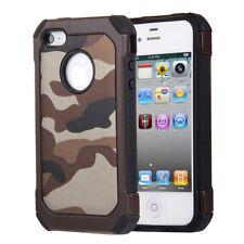 Apple iPhone 4 4S Outdoor Case TPU Hybrid Camouflage Anti Shock Tarn Hülle Braun