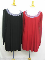 PLUS SIZE TOP LADIES STUNNING JEWELLED NECKLINE SHEER SLEEVE ELASTICATED CUFFS