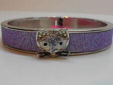 Betsey Johnson Pendants & Bangles Purple Glitter Cat Magnetic Snap Bracelet
