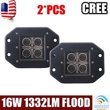 2X 16W CREE LED Pod Lights Flush Mount Driving Work Fog Light Cube Truck Flood