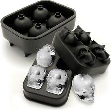 Silicona Flexible 2x cubo de hielo Fabricante de cráneo 4x4.5cm Cráneo Molde Whisky Cóctel