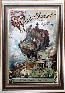 'Wonderbloemen' 1890 Color Litho Print/Book Cover - Gnome/Fairy/Fantasy