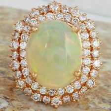 7.68Ct Natural Ethiopian Opal and Diamond 14K Solid Rose Gold Ring