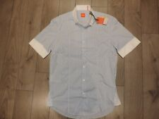 HUGO BOSS Short Sleeves Cotton Casual Shirt Striped Blue White Regular Fit M