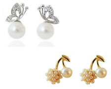 Glitz Pearl Round ball Cherry Stud and Butterfly Pearl Drop Combo Earrings